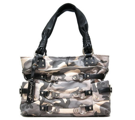 B Makowsky Camouflage Printed Leather Tote Bag
