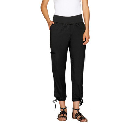 Lisa Rinna Collection Foldover Waist Crop Cargo Pants
