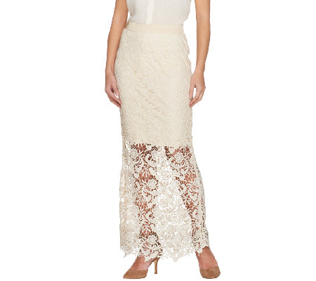 G.I.L.I. Petite Venice Lace Maxi Skirt with Scalloped Hem
