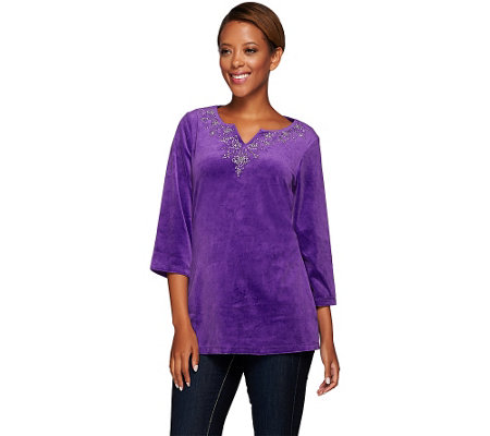 Quacker Factory Holidazzle Beaded Velour 3/4 Sleeve Tunic