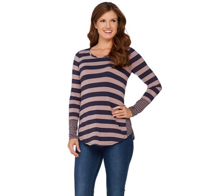 LOGO by Lori Goldstein Knit Stripe Top with Contrast Side Godets
