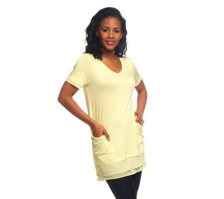 As Is Logo By Lori Goldstein Petite Chiffon Trim Tee W Pockets
