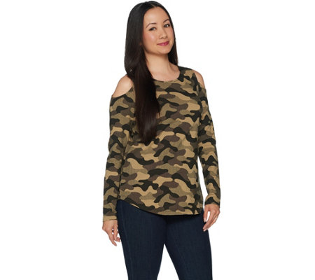 Women with Control Cold Shoulder Camo Printed Top