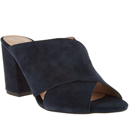 Sole Society Suede Peep-Toe Mules - Luella