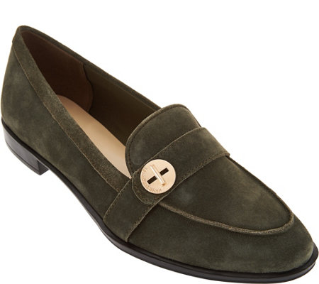 Isaac Mizrahi Live! Suede Loafers with Turn Lock Detail