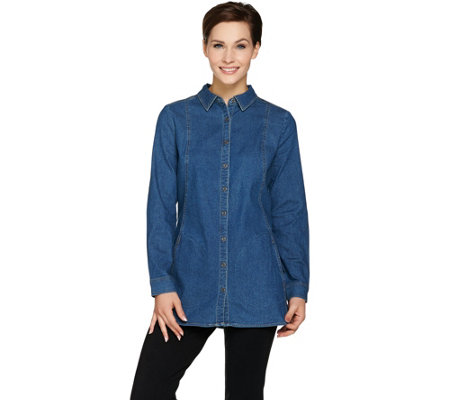 Denim & Co. Regular Long Sleeve Button Front Shirt