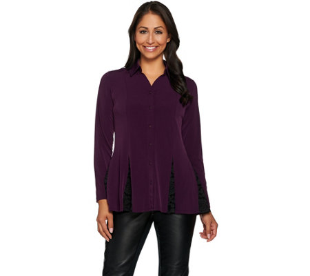 Susan Graver Liquid Knit Button Front Shirt with Lace Godets