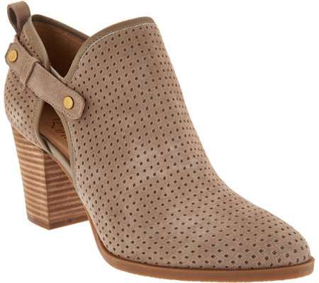 Franco Sarto Suede Perforated Ankle Boots - Dakota