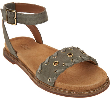 Clarks Artisan Suede Ankle Wrap Sandals - Corsio Amelia