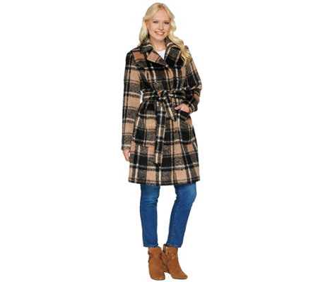 """As Is"" Isaac Mizrahi Live! Brushed Plaid Snap Front Coat with Belt"