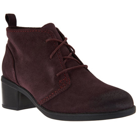 """As Is"" Clarks Leather or Suede Lace-up Ankle Boots - Nevella Harper"