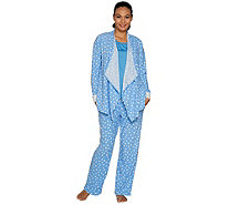 Carole Hochman Petite Stretch Waffle Fleece 3-Piece Pajama Set - A294068