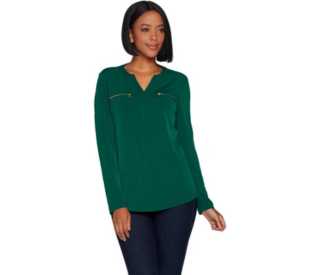 Susan Graver Solid or Printed Liquid Knit Top with Zippers