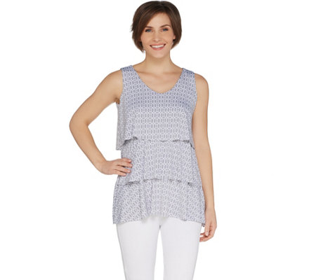 Susan Graver Printed Liquid Knit Sleeveless Tiered Top