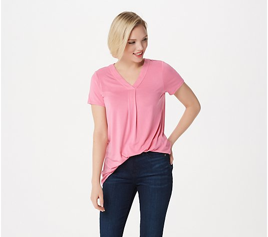 Laurie Felt Short Sleeve Rayon Made From Bamboo Blend V-Neck Top