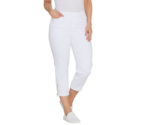 Denim & Co. Petite Soft Stretch Pull-On White Crop Jeans