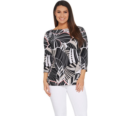Susan Graver Printed Liquid Knit 3/4-Sleeve Top