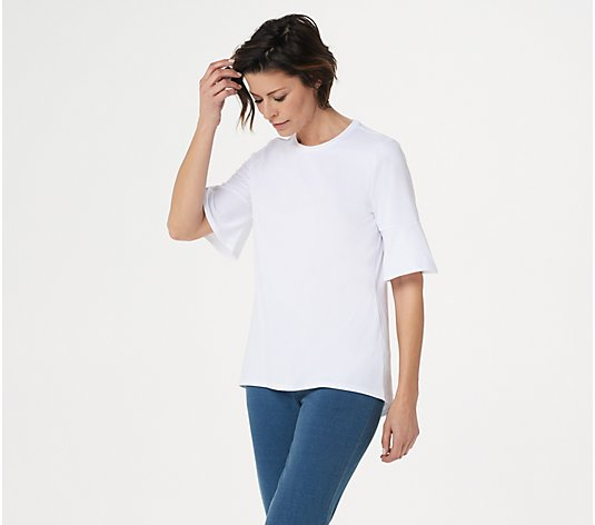 Studio by Denim & Co. Round Neck Elbow Bell Sleeve Hi-Low Hem Top