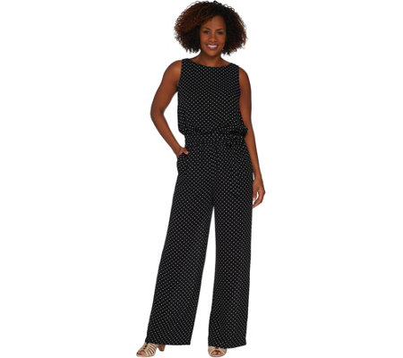 Vince Camuto Poetic Dot Belted Jumpsuit