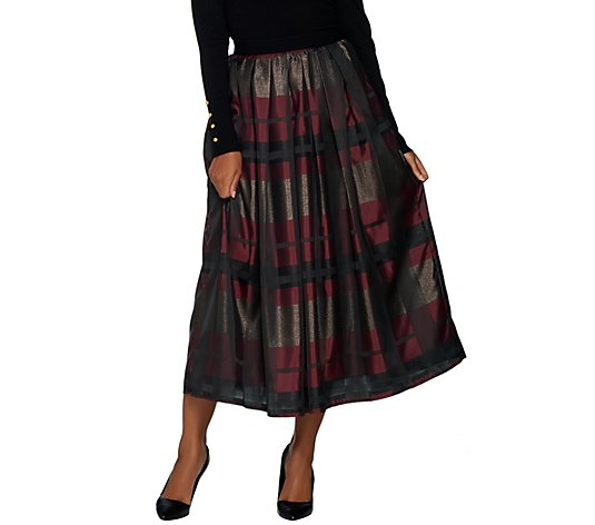 Joan Rivers Petite Glamorous Plaid Midi Skirt