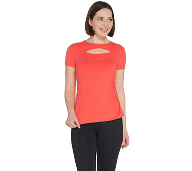 Susan Lucci Collection Cap Sleeve Tee w/ Peek A Boo and Ruching - A308268