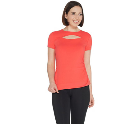 Susan Lucci Collection Cap Sleeve Tee w/ Peek A Boo and Ruching