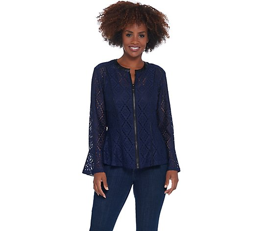 Belle by Kim Gravel Geometric Stretch Lace Zip Jacket