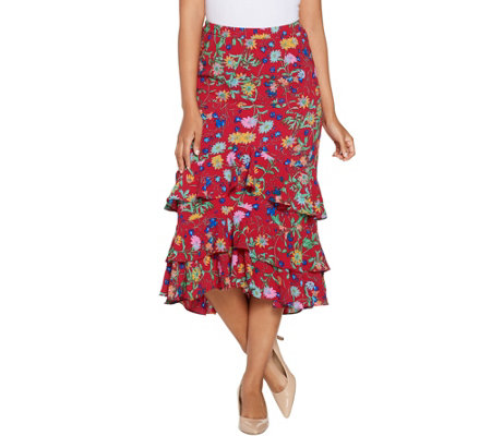 """As Is"" Linea by Louis Dell'Olio Wild Flower Pull On Ruffle Skirt"
