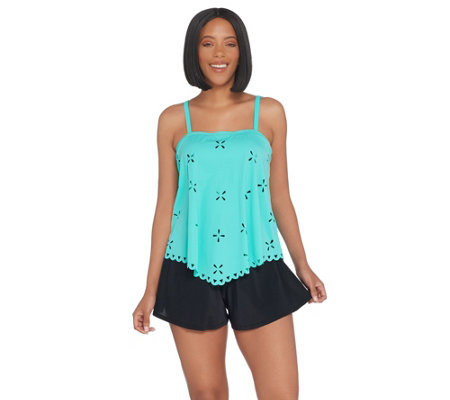 """As Is"" Fit 4 U Handkerchief Laser Cut Tankini Swimsuit"