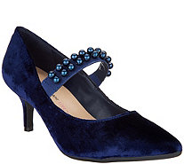 Isaac Mizrahi Live! Velvet Pumps with Faux Pearl Strap - A344968