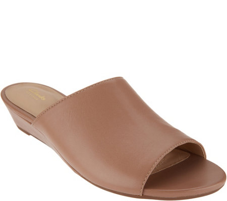 """As Is"" Clarks Artisan Leather Low Wedge Slides-Parram Waltz"