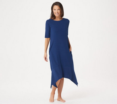 Cuddl Duds Flexwear Elbow-Sleeve Rainbow Hem Lounge Dress