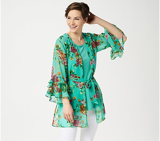 Susan Graver Printed Chiffon Cardigan and Knit Tank Set