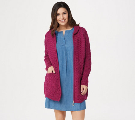 Aran Craft Merino Wool Zip Front Cardigan With Back Pleat