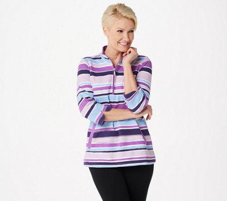 Denim & Co. Printed French Terry 3/4-Sleeve Half-Zip Top