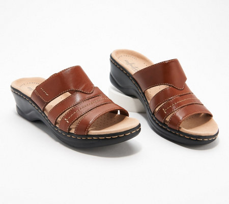 Clarks Collection Leather Slide Sandals Lexi Sabrina