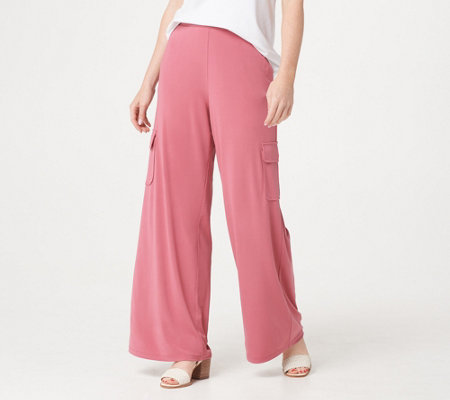Lisa Rinna Collection Regular Pull On Wide Leg Cargo Pants