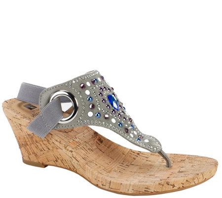 White Mountain Jeweled Thong Wedge Sandals - Adeline
