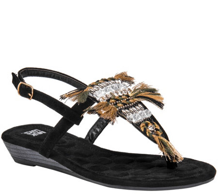MUK LUKS Thong Wedge Sandals - Lucille
