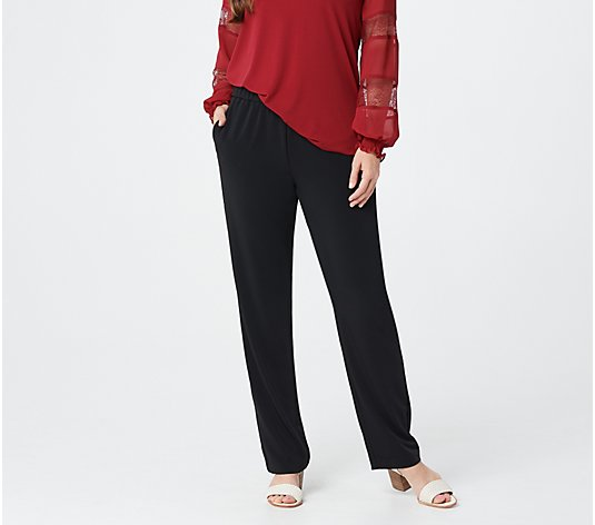 Susan Graver Petite Woven Essentials Pull-On Pants