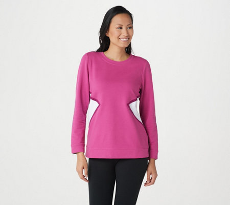 Denim Co Active French Terry Long Sleeve Color Block Top