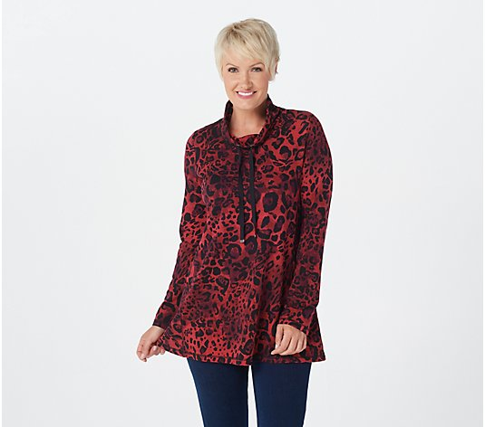 Susan Graver Weekend Printed French Terry Mock Neck Tunic