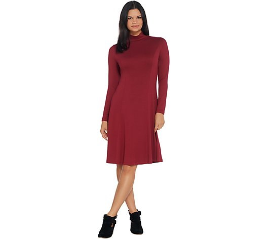 """As Is"" Dennis Basso Jersey Knit Fit-and- Flare Mock-Neck Dress"