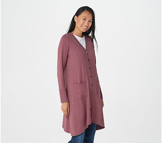 LOGO Lounge by Lori Goldstein Jersey Button-Front Duster