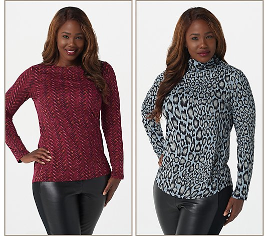 Susan Graver Set of 2 Printed Brushed Liquid Knit Tops