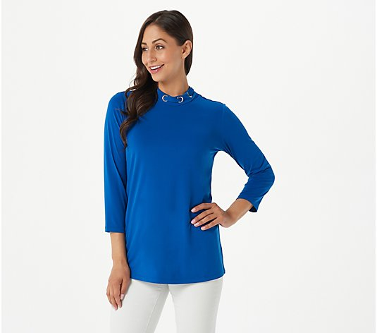 """As Is"" Susan Graver Liquid Knit Mock-Neck Tunic with Lacing Detail"