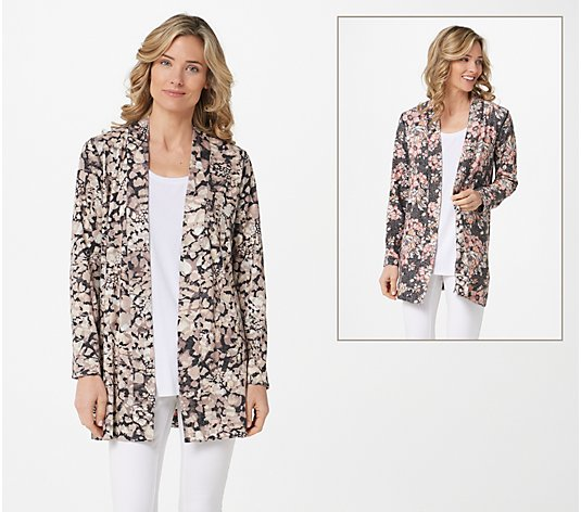 Attitudes by Renee Renee's Reversibles Printed Knit Cardigan