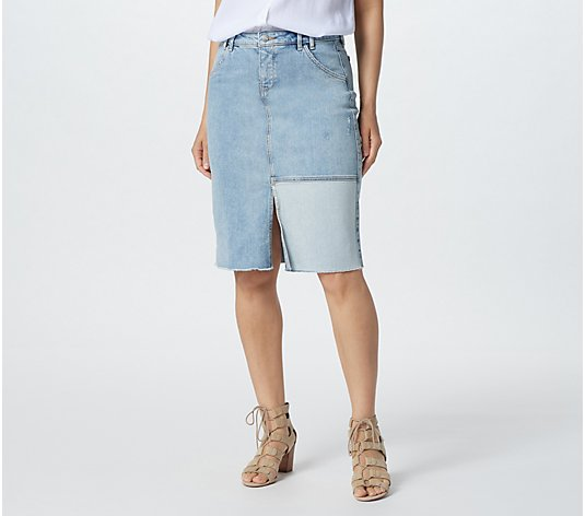 NYDJ Denim Midi Skirt w/ Front Patch- Radiance