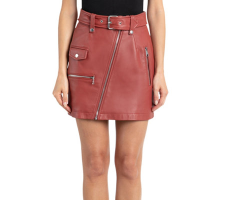 Bagatelle Nyc Lamb Leather Moto Skirt