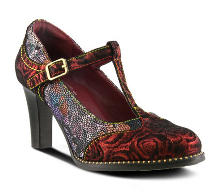 L'Artiste T-Strap Metallic Leather Printed Pumps - Mazie